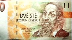 Koruna bill Czech money burning in flames Stock Footage