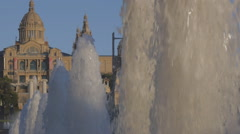Fountain jets at Montjuic. Closeup Stock Footage