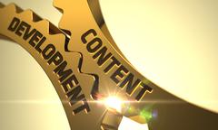 Content Development on Golden Cog Gears - stock illustration