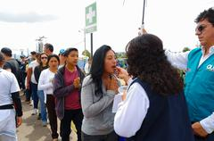 QUITO, ECUADOR - JULY 7, 2015: People make a line to receive the communion on - stock photo