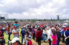 QUITO, ECUADOR - JULY 7, 2015: Huge place for all the pilgrims, sunny day - stock photo