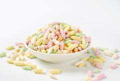 Sweet puffed rice Stock Photos