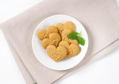 heart-shaped cookies - stock photo