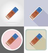 eraser gum stationery equipment set flat icons vector illustration - stock illustration