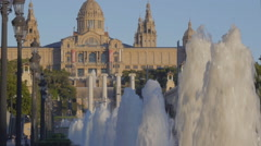 Fountain jets at Montjuic at sunset - stock footage