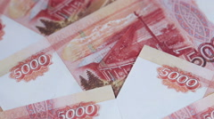 Bills of 5000 rubles. background of euros Stock Footage