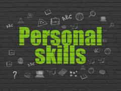 Studying concept: Personal Skills on wall background - stock illustration