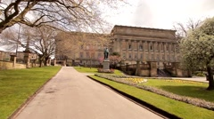 St George's Hall Liverpool England Park, Sunshine, Neo-classical Grade I Listed Stock Footage