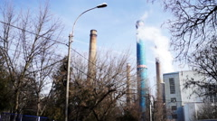 Polluted city, industrial area Stock Footage