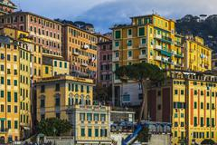 Detail of colorful apartments and hotels on hillside, Camogli, Liguria,  Italy Stock Photos