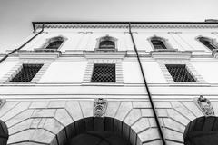 Facade of an Italian medieval building. - stock photo