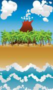 Cartoon volcano island - stock illustration