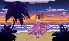 Fashion Girl on the Beach Stock Illustration