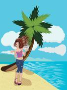 Girl on a Sunny Beach Stock Illustration