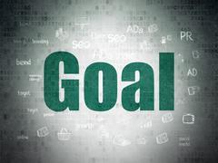 Marketing concept: Goal on Digital Data Paper background Piirros