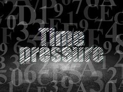 Timeline concept: Time Pressure in grunge dark room Stock Illustration