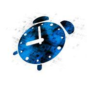 Timeline concept: Alarm Clock on Digital background Stock Illustration
