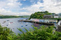 View of the port of Portree, Isle of Skye, Portree is the capital and the only - stock photo