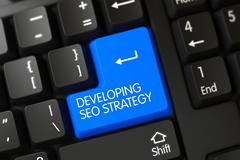 Blue Developing Seo Strategy Button on Keyboard Stock Illustration