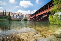 Bridge of the Alpini in Bassano del Grappa, Vicenza, Italy. Stock Photos