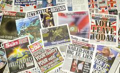 British newspaper front pages reporting on the eve of the EU Referendum - stock photo