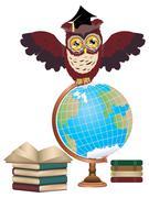 Owl with Globe - stock illustration