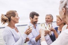 Group of friends raising wine glasses, making toast - stock photo