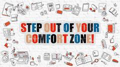 Multicolor Step Out of Your Comfort Zone on White Brickwall. Do - stock illustration