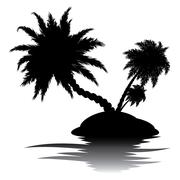 Palm Tree on Island Silhouette - stock illustration