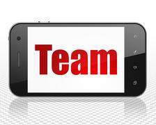 Finance concept: Smartphone with Team on display - stock illustration