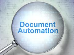 Business concept: Document Automation with optical glass - stock illustration