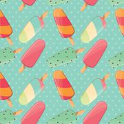 Ice cream seamless pattern, colorful summer background, delicious sweet treats - stock illustration