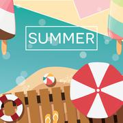 Modern typographic summer poster design with ice cream, beach - stock illustration