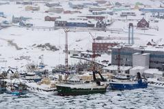 Elevated view of snow storm over harbour, Ilulissat, Greenland Kuvituskuvat