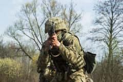 Military soldiers at tactical exercises - stock photo