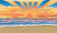 Sunset on tropical beach Stock Illustration