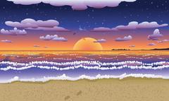 Sunset on tropical beach Stock Illustration