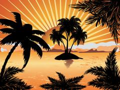 Sunset tropical island Piirros