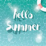 Swimming pool, top view, typographic hello summer message, summer time holida Stock Illustration