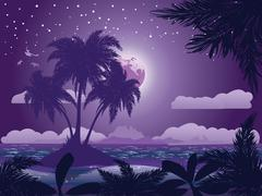 Tropical island at night - stock illustration