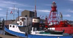 Former navy tugboat Berkel Y 8037 berthed at museum harbour Willemsoord Stock Footage