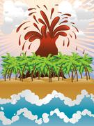 Volcano island Stock Illustration