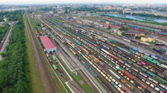 Railway yard with a lot of railway lines and freight trains, Rail freight - stock footage