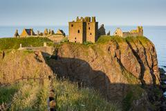 View of Dunnottar Castle, Dunnottar Castle is a ruined castle in Aberdeenshire, Stock Photos