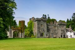 Armadale Castle (ruin) is the former mansion of the Scottish clan MacDonald, - stock photo