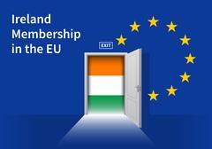 European Union flag wall with Ireland flag door. EU Flag - stock illustration