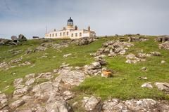 On the way to the lighthouse, Isle of Skye, Neist Point, a small peninsula on - stock photo