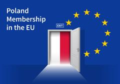 European Union flag wall with Poland flag door. EU Flag - stock illustration