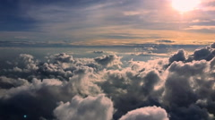 Moving clouds and sunset skyplane Stock Footage