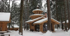 Wooden chapel in winter, Holy source Stock Footage